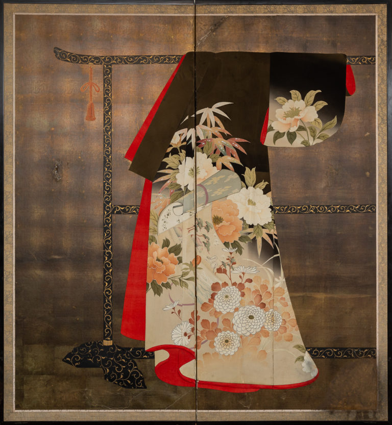 Japanese Two Panel Screen: Kimono on Rack