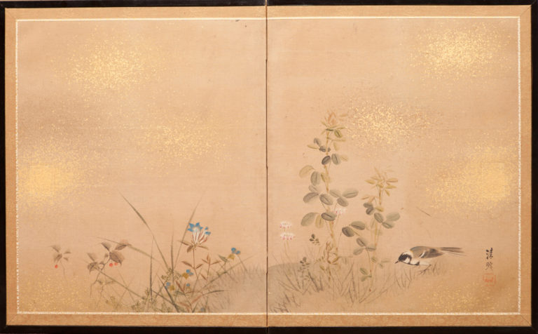 Japanese Two Panel Screen: Sparrow and Flowers