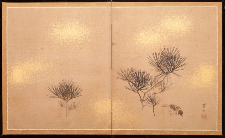 Japanese Two Panel Screen: Sparrow and Young Pine