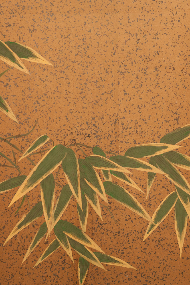 Japanese Four Panel Screen: Bamboo and Butterflies with Silver Dust
