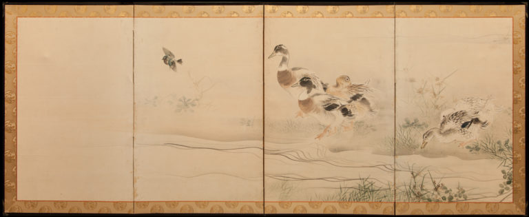 Japanese Four Panel Screen: Ducks on a River Bank