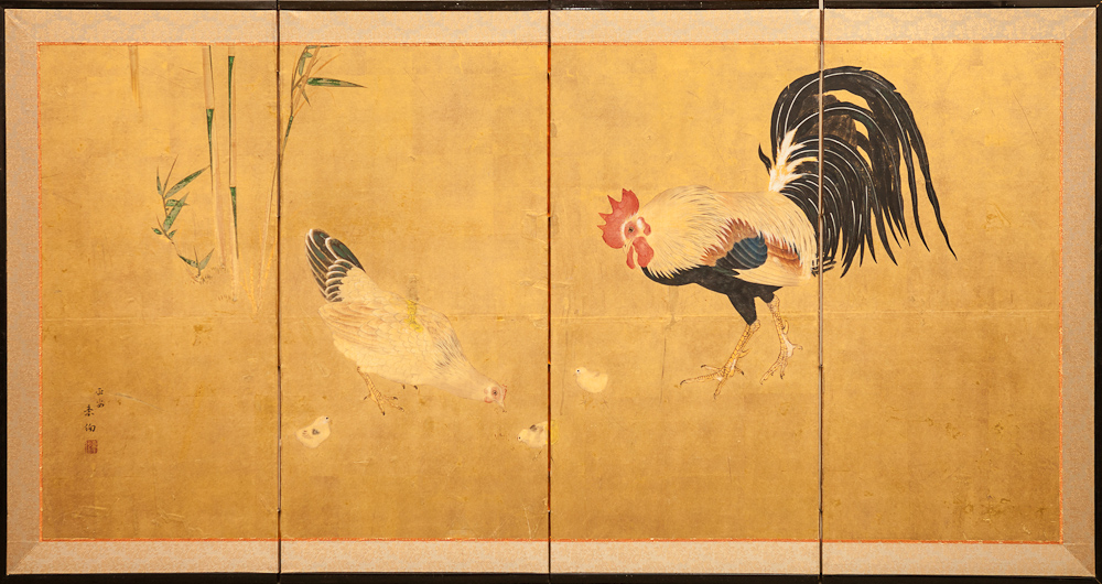 Japanese Four Panel Screen: Family of Chickens