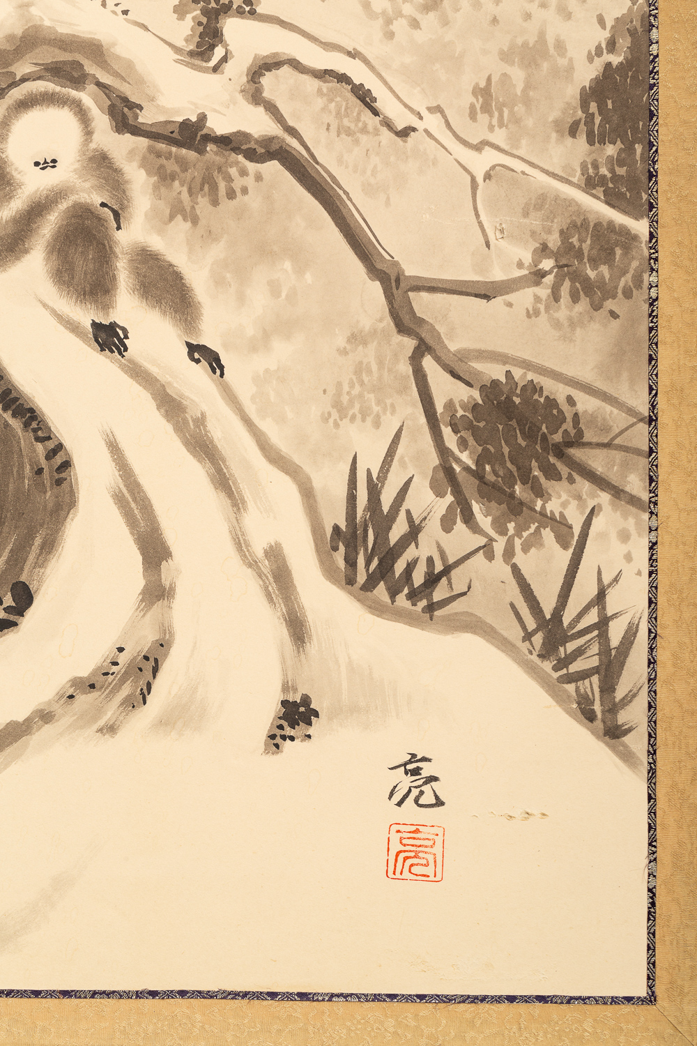 Japanese Four Panel Screen: Monkeys in Tree