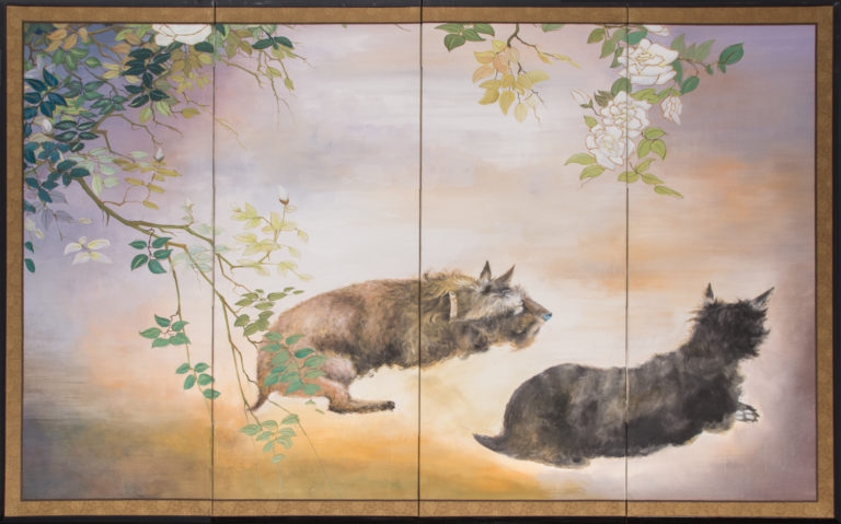 Japanese Four Panel Screen: Scotties Under Roses