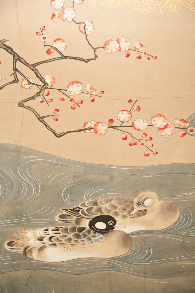 Japanese Six Panel Screen: Ducks at Water's Edge