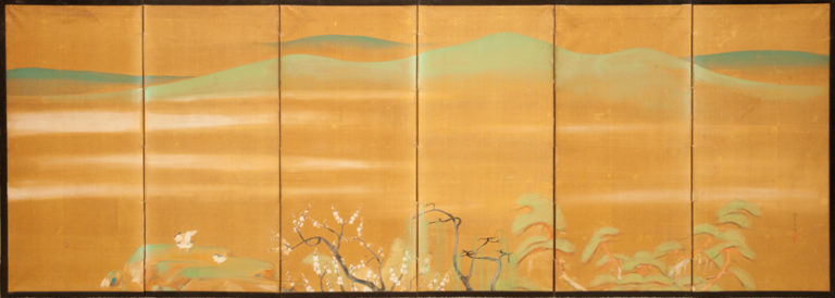 Japanese Six Panel Screen: Plum, Willow and Pine on Silk