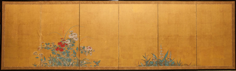 Japanese Six Panel Screen: Rimpa Style Summer Flowers on Gold