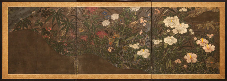 Japanese Three Panel Screen: Summer Floral Landscape