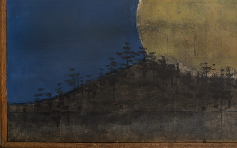 Japanese Two Panel Screen:  Moonrise in Early Evening
