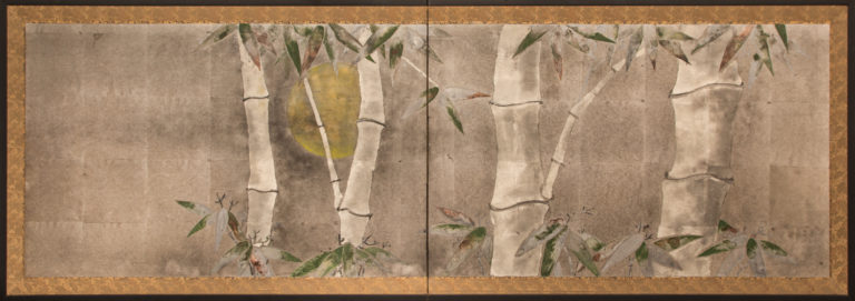 Japanese Two Panel Screen: Bamboo at Twilight
