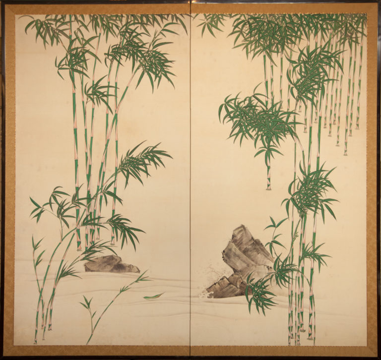 Japanese Two Panel Screen: Bamboo Grove by Stream