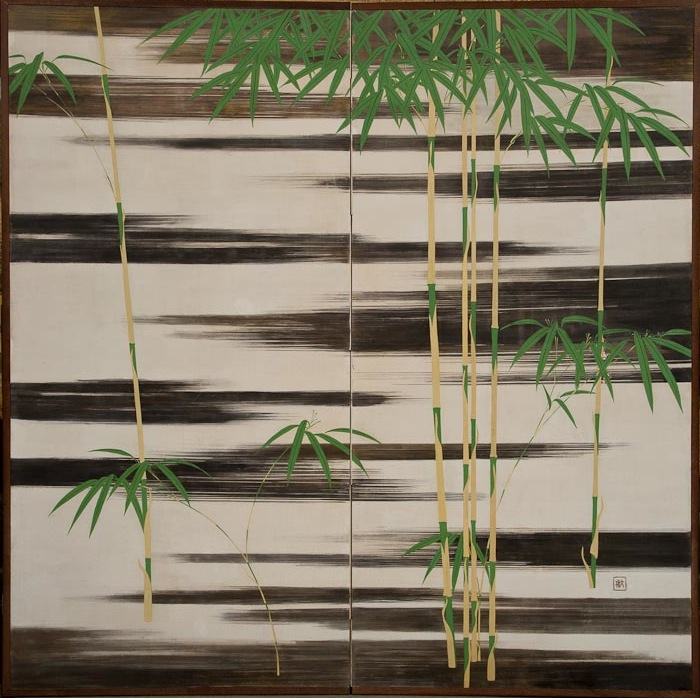 Japanese Two Panel Screen: Bamboo in Black and White Water Landscape