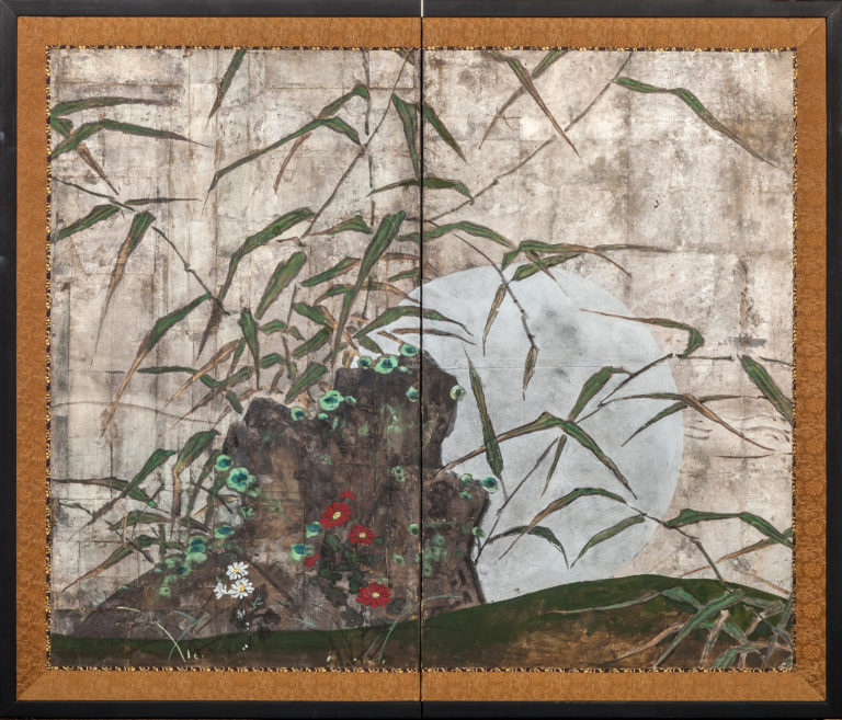 Japanese Two Panel Screen: Bamboo, Wild Grasses, Flowers, And Moon On Silver