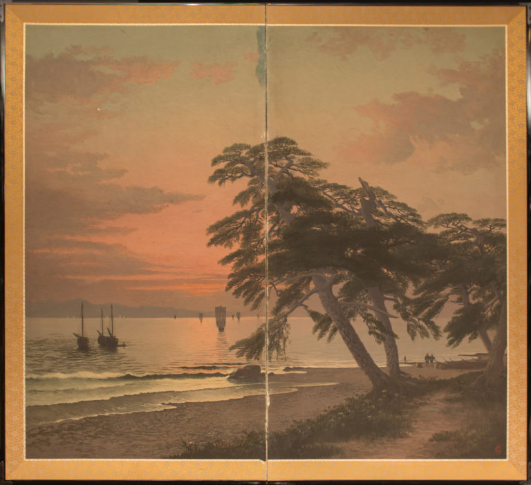 Japanese Two Panel Screen: Beach Sunset with Boats