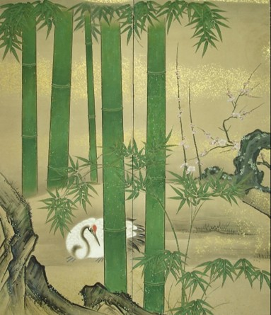 Japanese Two Panel Screen: Crane, Bamboo, and Plum