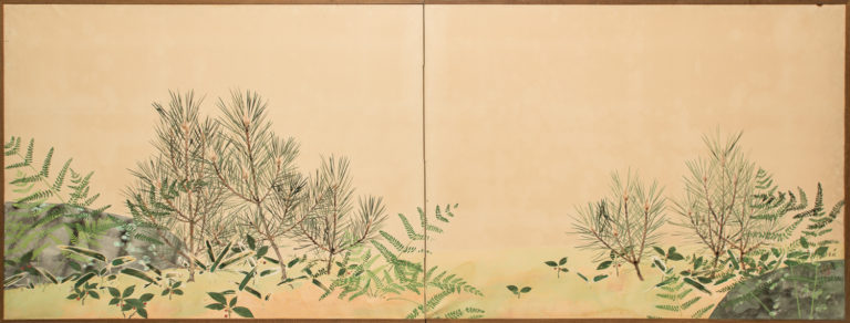 Japanese Two Panel Screen: Ferns and Young Pine