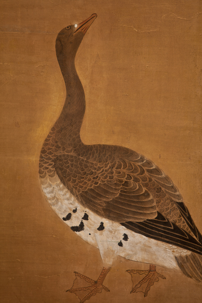 Japanese Two Panel Screen: Geese on Gold