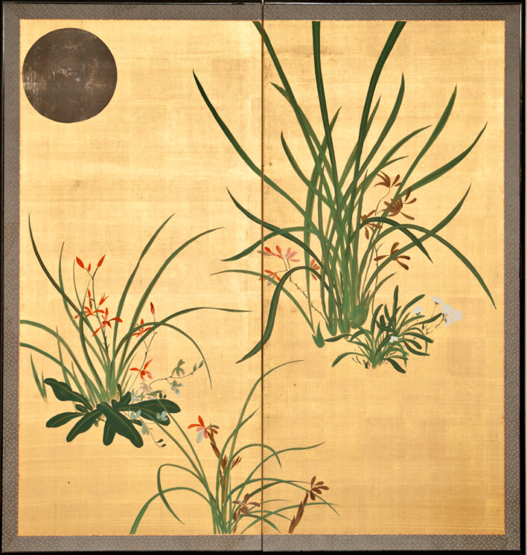 Japanese Two Panel Screen: Moon and Flowers