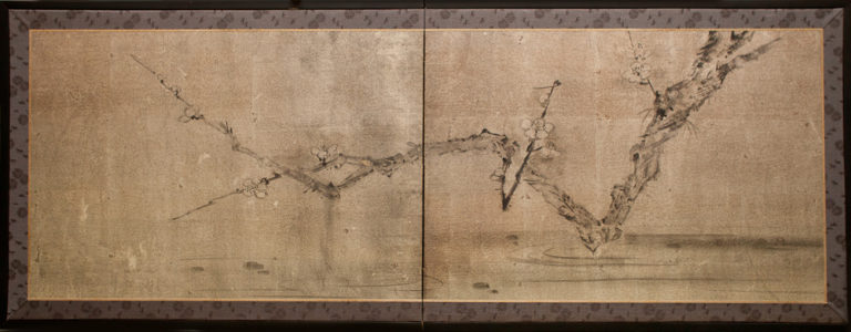 Japanese Two Panel Screen: Plum Branch