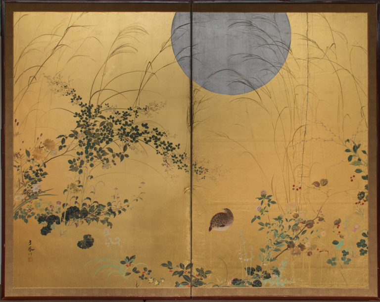 Japanese Two Panel Screen: Quail under Autumn Moon and Grasses