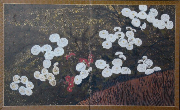 Japanese Two Panel Screen: Red and White Chrysanthemums