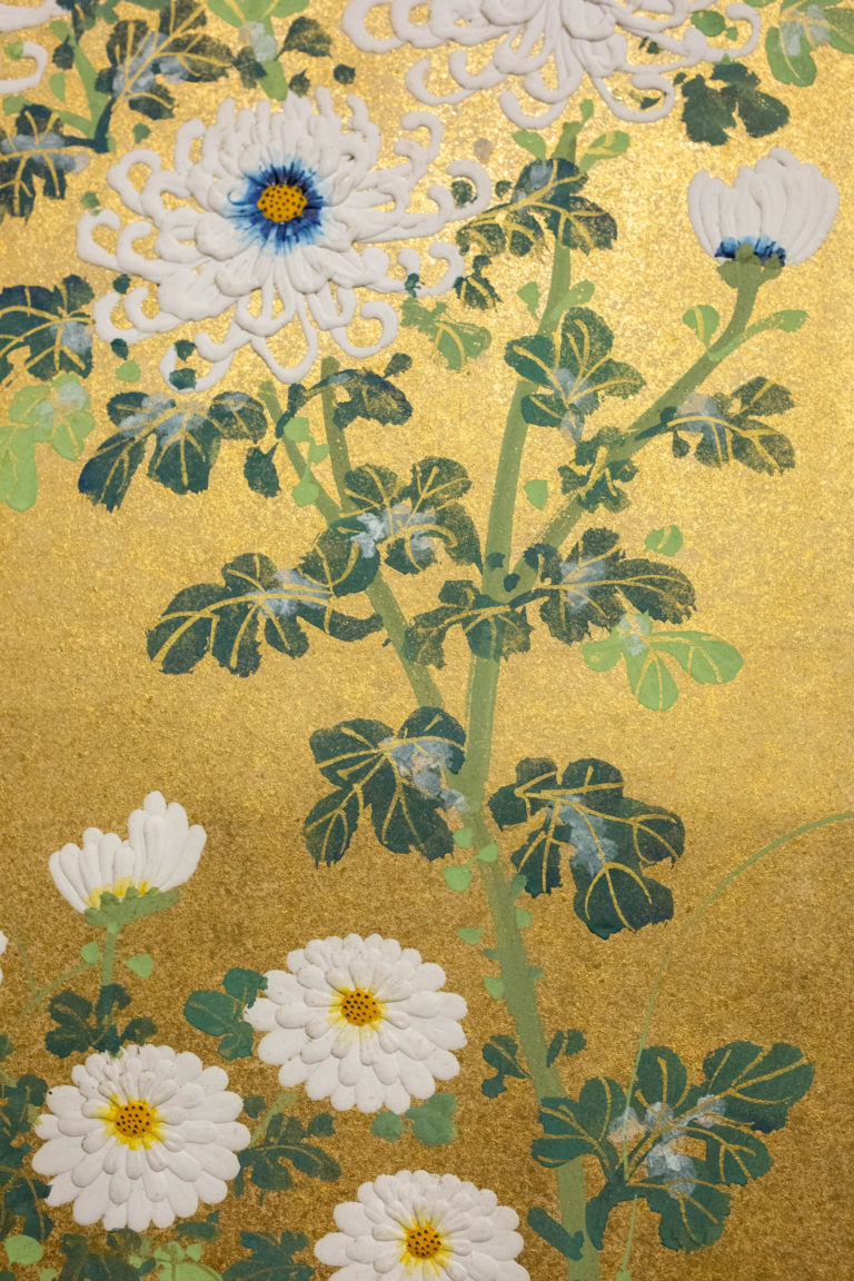 Japanese Two Panel Screen: Rimpa Style Painting of Chrysanthemums on a Twig Fence