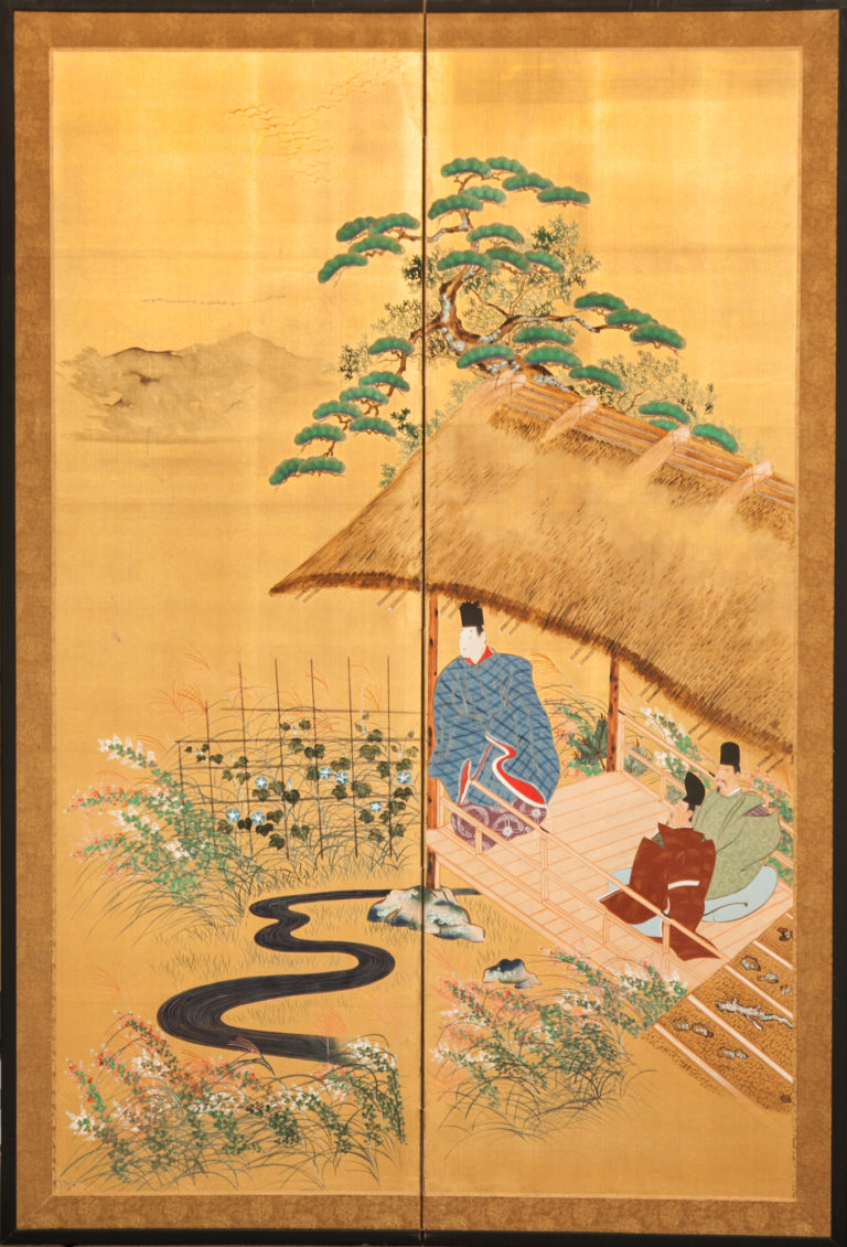 Japanese Two Panel Screen: Scene from Tale of Genji