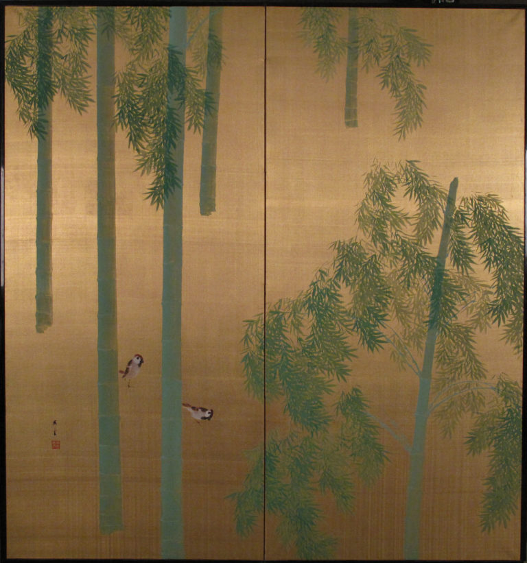 Japanese Two Panel Screen: Sparrows and Bamboo on Gold Silk