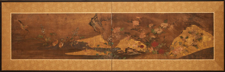 Japanese Two Panel Screen: Sparrows and Flowers