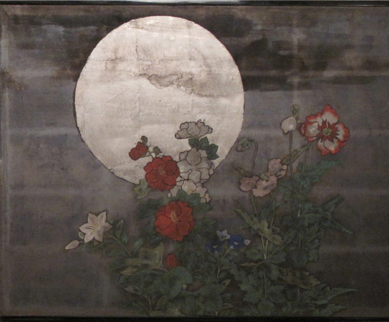 Japanese Two Panel Screen: Summer Moon in a Garden Landscape
