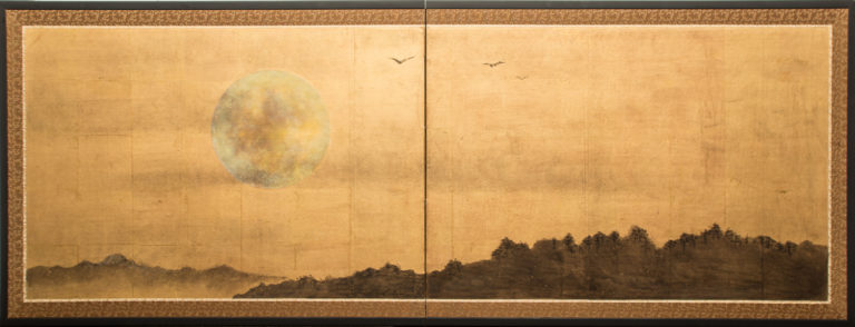 Japanese Two Panel Screen: Sun Over Mountains