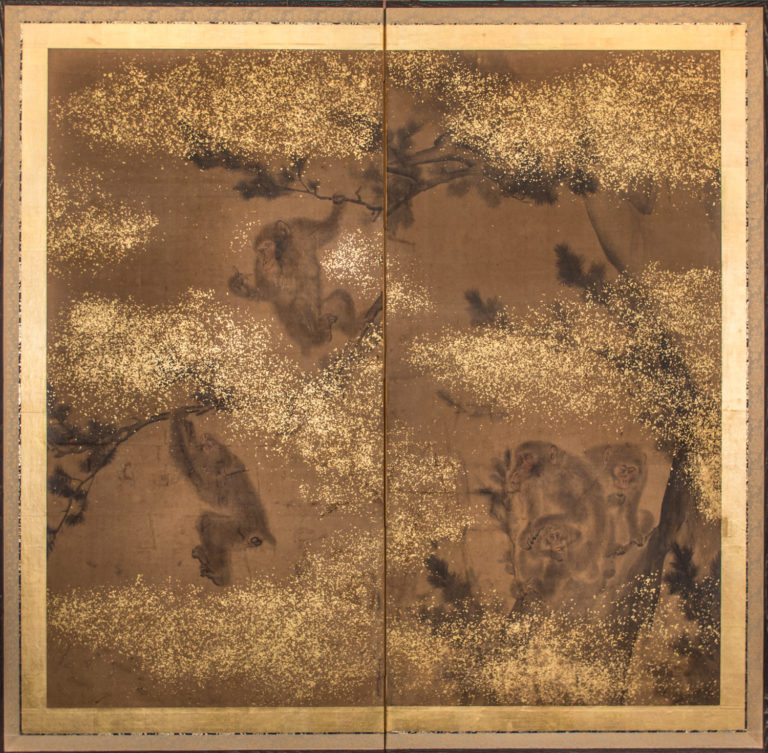 Japanese Two Panel Screen: Troop of Monkeys in a Tree