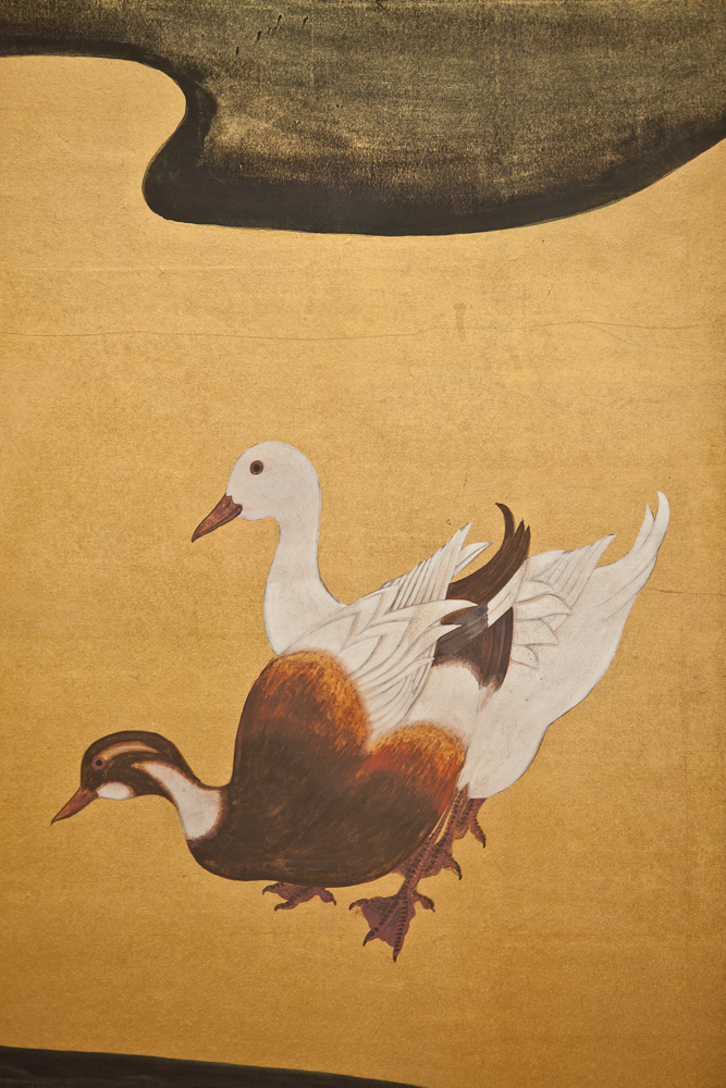 Japanese Two Panel Screen: Water Fowl by River's Edge