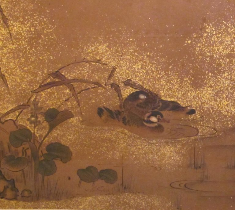 Japanese Two Panel Screen: Waterfowl in Water Landscape.