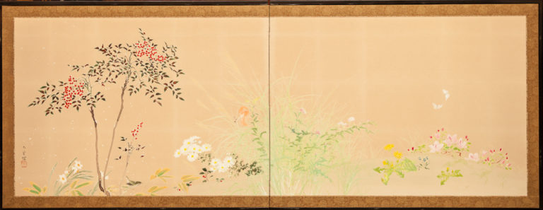 Japanese Two Panel Screen: Winter Into Spring Floral Landscape
