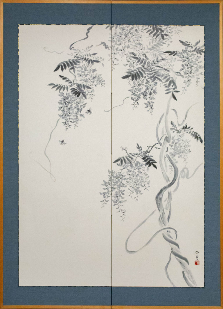 Japanese Two Panel Screen: Wisteria Vine with Bees
