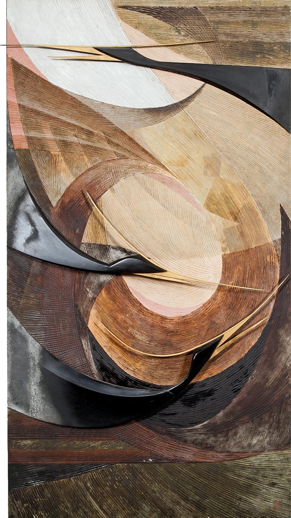 Japanese Wood Single Panel: Flying Herons