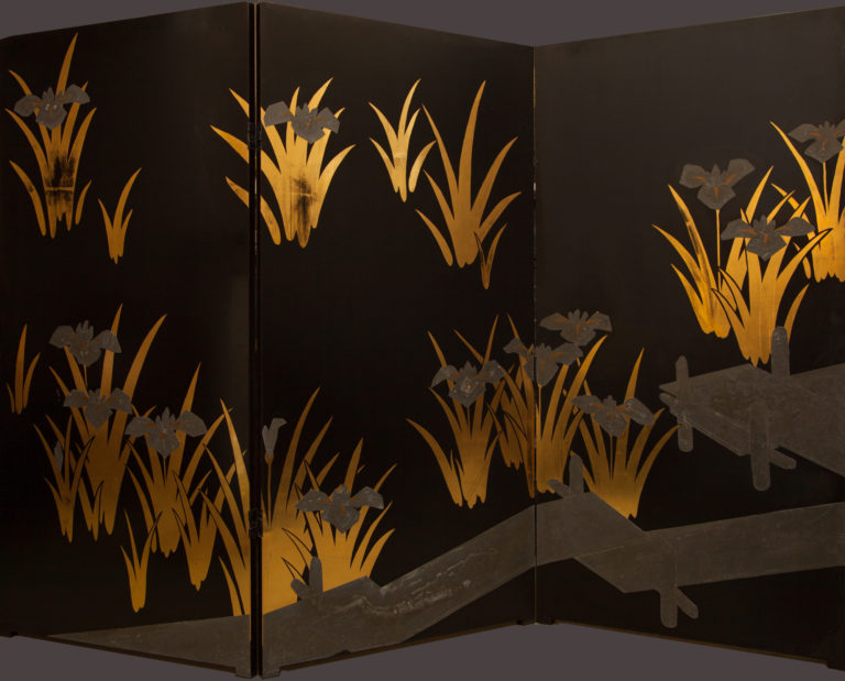 Japanese Black Lacquer Screen: Korin Subject of Footbridge Over Irises