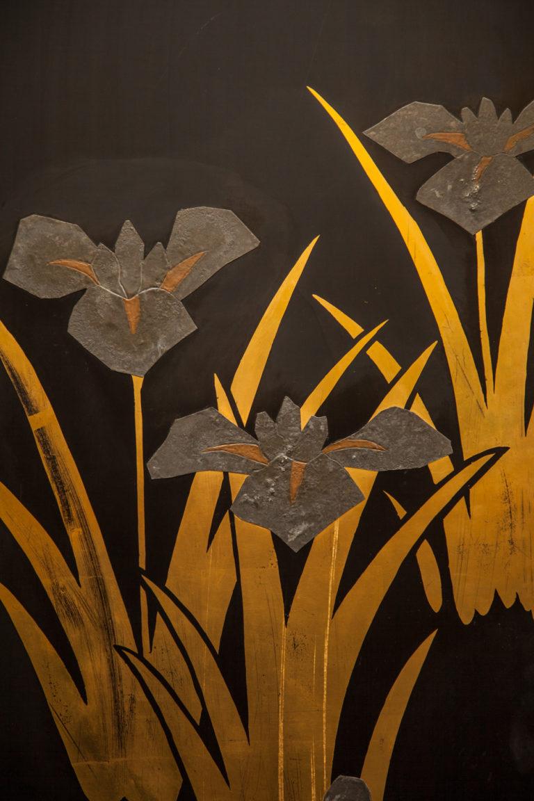 Japanese Black Lacquer Screen: Korin Subject of Footbridge Over Irises