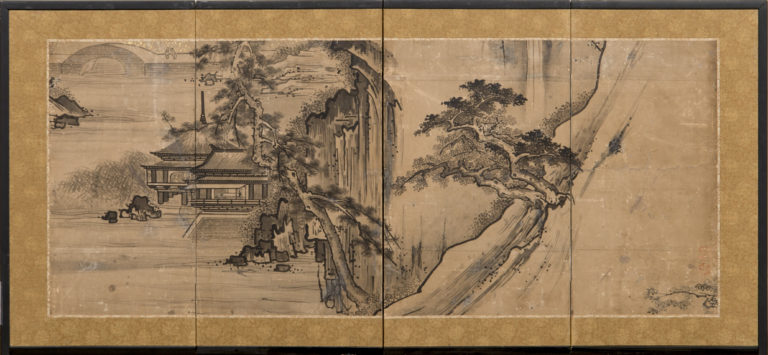 Japanese Four Panel Screen:  Ink landscape Painting