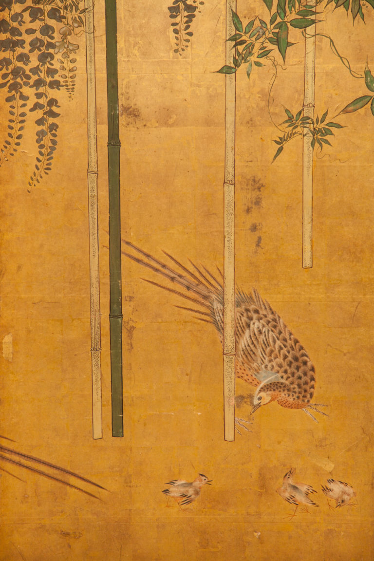 Japanese Four Panel Screen: A Family of Golden Pheasants Under Wisteria