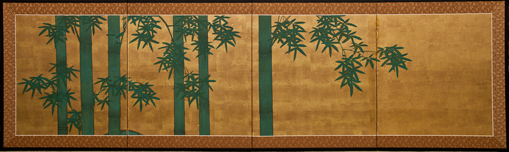 Japanese Four Panel Screen: Bamboo on Gold