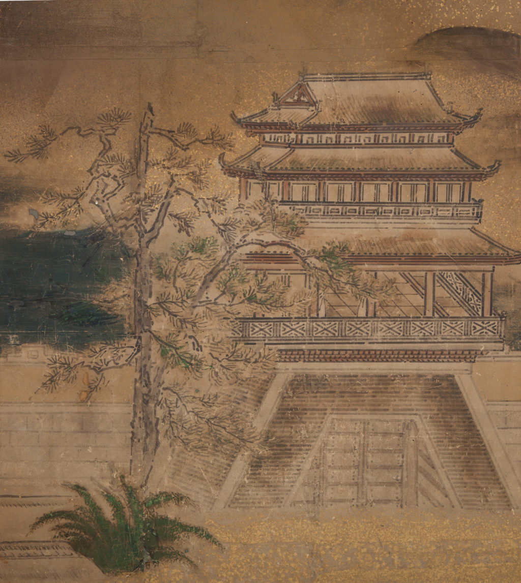Japanese Four Panel Screen: Chinese Temple in Mountain Landscape