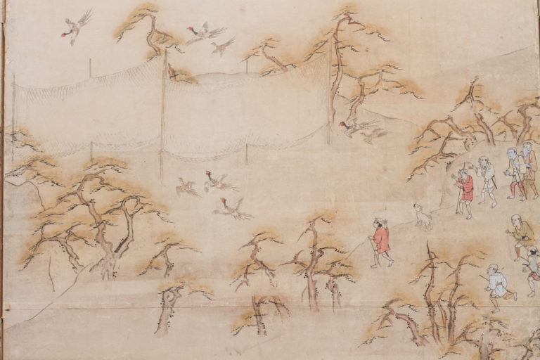 Japanese Four Panel Screen: Country Genre Scene