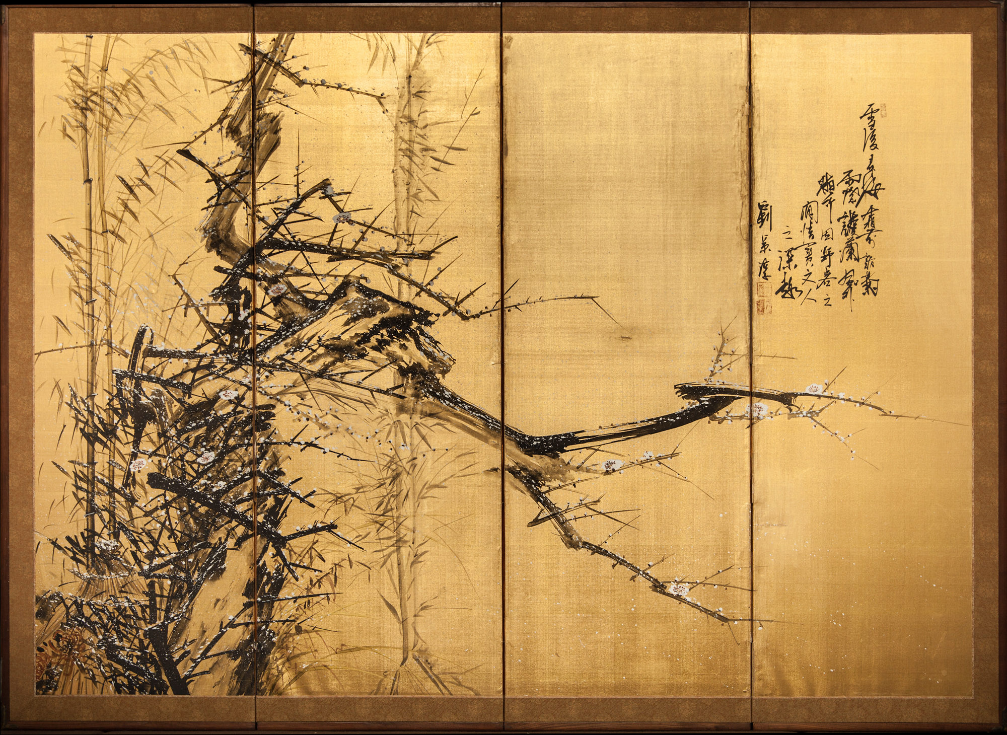 Japanese Four Panel Screen: Craggy Plum and Bamboo in Winter with Calligraphy