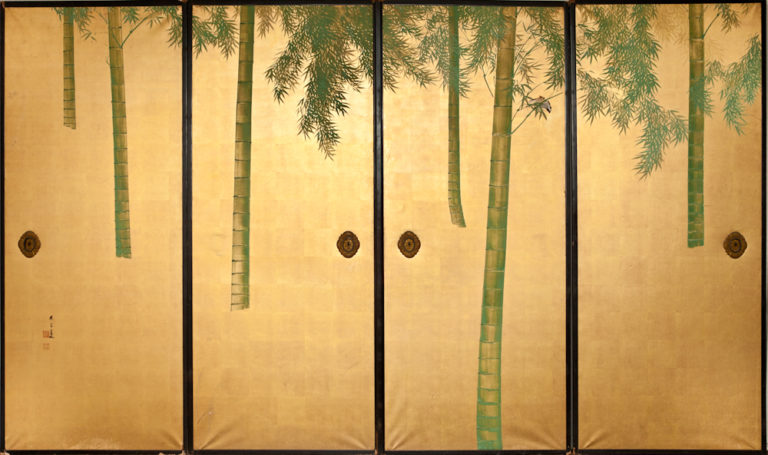 Japanese Four Panel Screen: Fusuma Door Paintings of Bamboo on Gold Paper