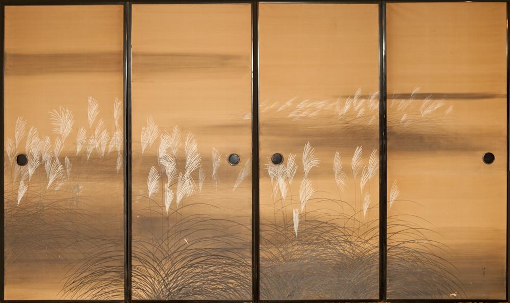 Japanese Four Panel Screen: Fusuma Door Paintings of Wild Grasses