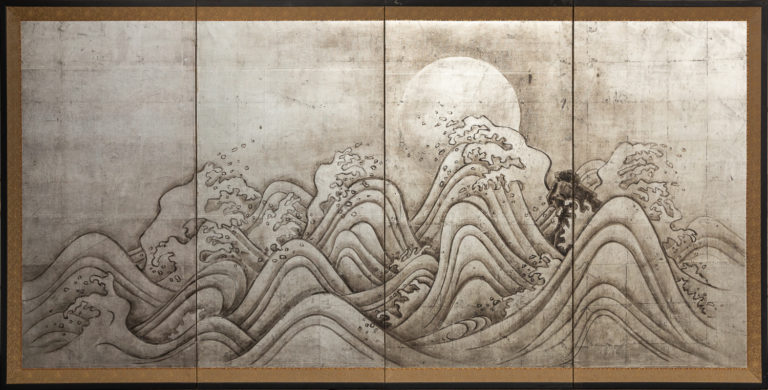 Japanese Four Panel Screen: Moon and Ocean Landscape