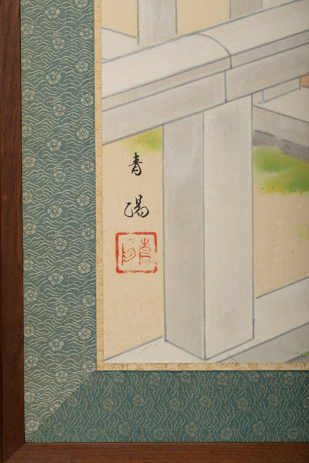 Japanese Four Panel Screen: Okinawa Painting of a Temple Scene
