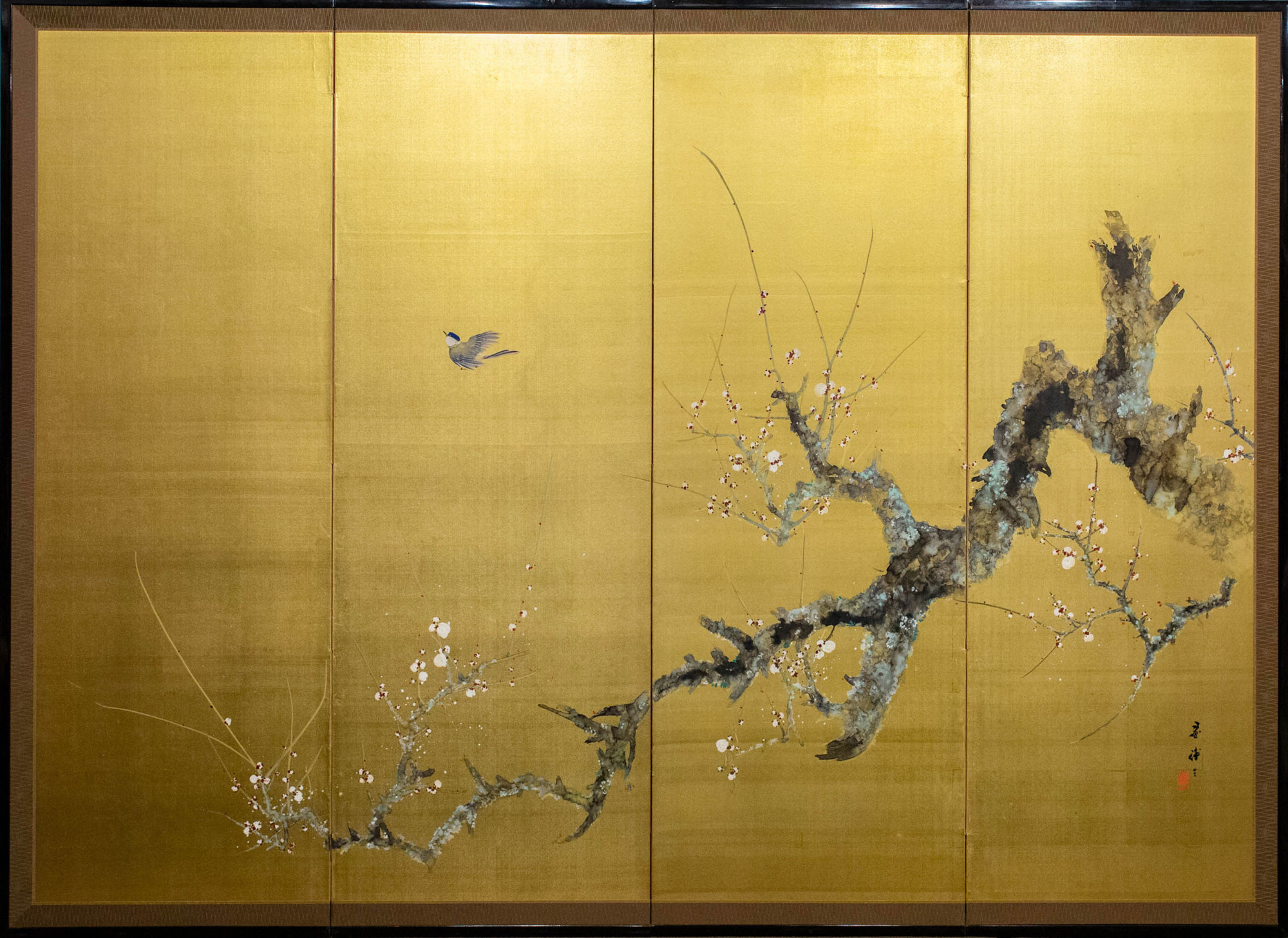 Japanese Four Panel Screen: Old Plum on Gold